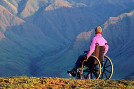 Man in wheelchair looking at mountain range