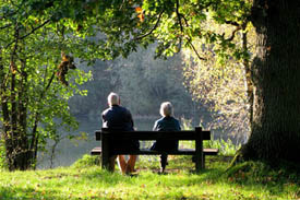 Elderly couple enjoying time in the forest